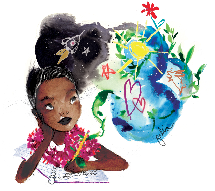 """Imagine"" watercolor illustration by julia denos #WENEEDDIVERSEBOOKS"