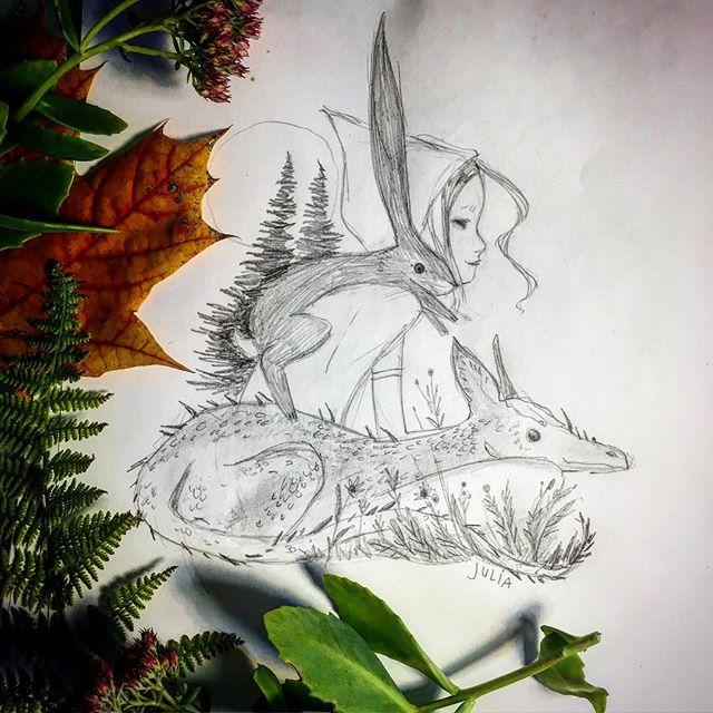 """Other-Worldly."" Pencil/Fern/Maple/Stonecrop. Happy Halloween! ✨ #halloween #landmadehandmade #juliadenos #illustration #thinveil #drawing #magical #folkore #sketch #fantasy #nature #allsaints #samhain #dragons #rabbits #spell #unbound #magic #freedom #cosmic #friendship #love"