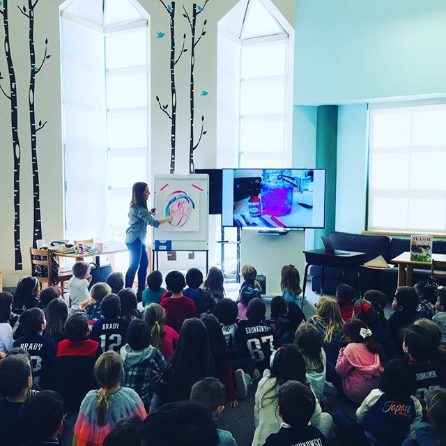 What a treat to read books, make art, and get wild at Cove Elementary last week! 🌈Thanks to all 400 students, faculty, and PTO for inspiring time together. WILDEST ROARS ❤️(and so much Pats energy in this crowd 😂) #schoolvisit #kidlit #magic #makeamess #listentothewild  #colortaming #swatchbook2016