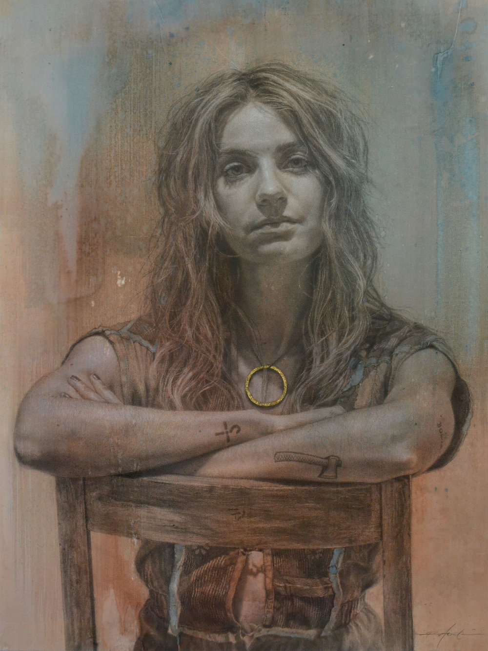 """Confrontation Friendly   mixed media drawing on hand toned paper 