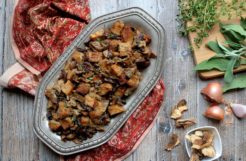 Gluten-Free Sourdough and Mushroom Stuffing