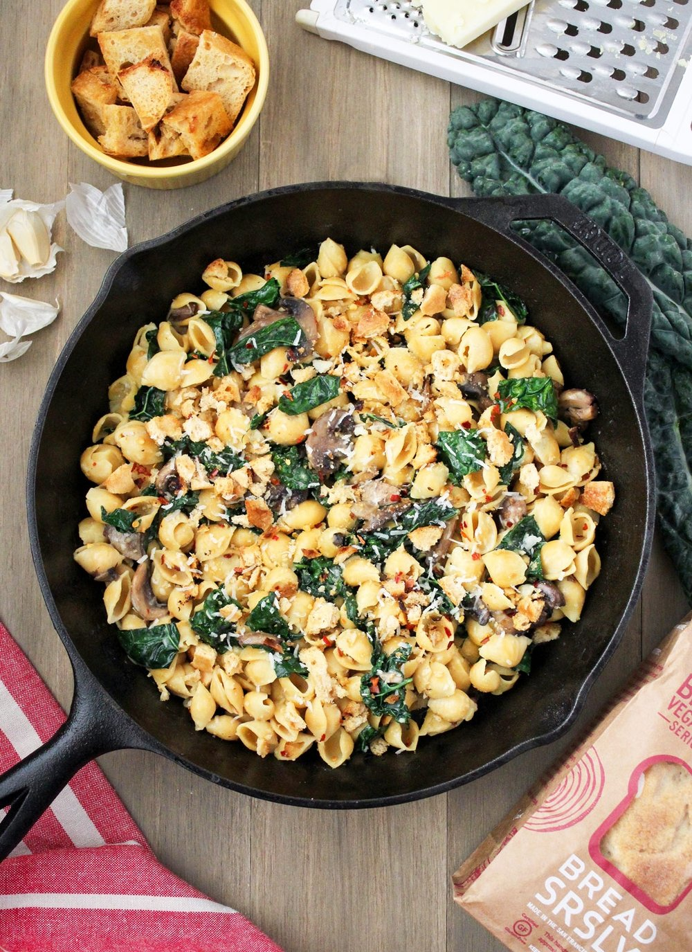 Chickpea Pasta with Gluten-Free Bread Crumbs Kale, and Mushrooms