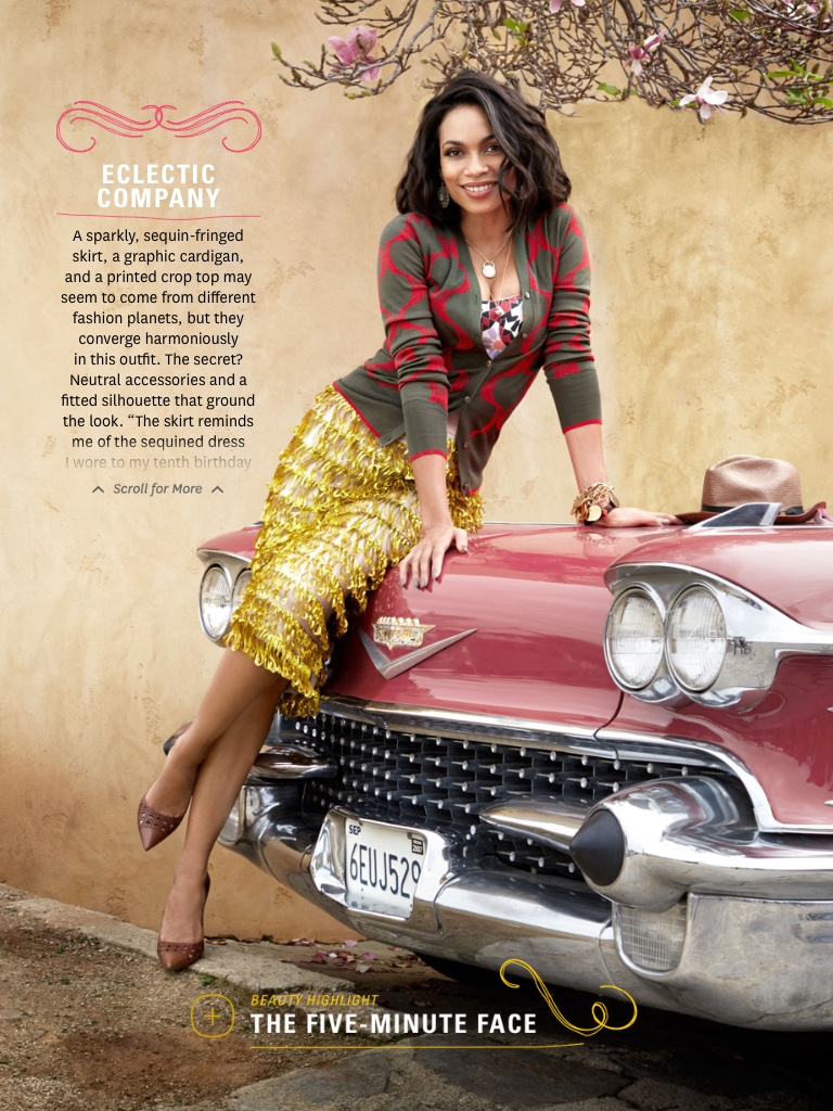 Rosario Dawson, styled by Adam Glassman - The Oprah Magazine - April 2015