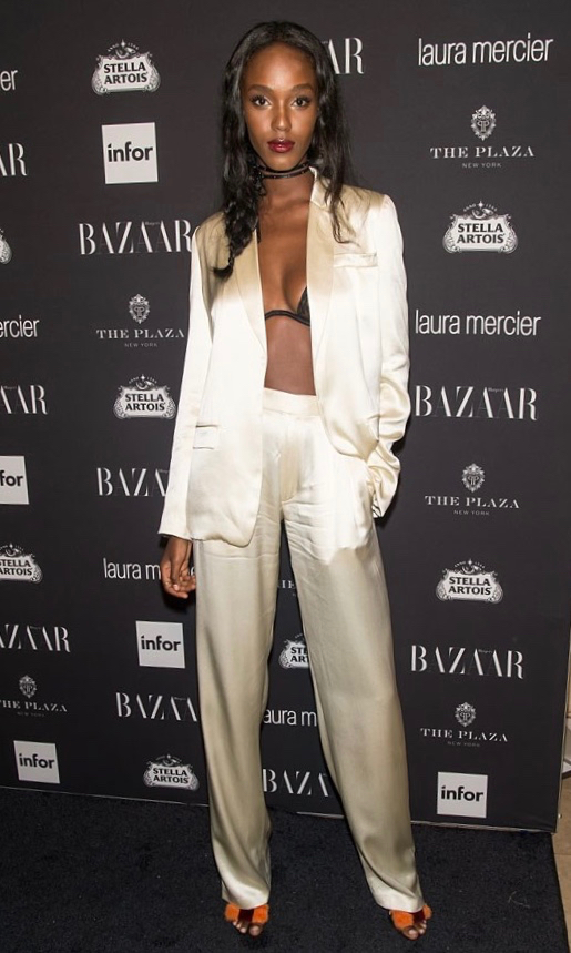 Leila Nda wearing sophie theallet Harpers bazaar Icons party 2016.jpg