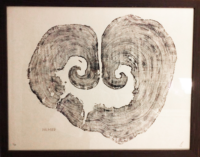 Palmier  38x26in; Limited Edition /20 Printed on Japanese Kozuke Ivory paper. Palmier is an amazing (untouched) relief print of a cedar tree that had grown in on itself and was in the process of rot at the time of printing. Resembling many things: moustached, madeleine cookie, smile! This one is a personal favourite.   SOLD OUT!
