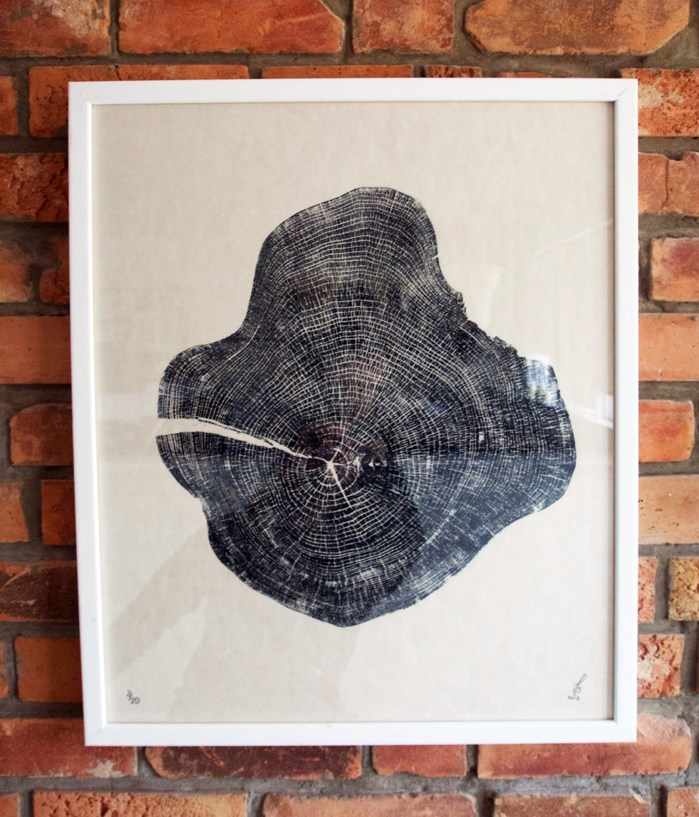 Untitled  20x24in; Limited Edition /20 Elm printed on Japanese Kozuke Ivory paper in black relief ink.