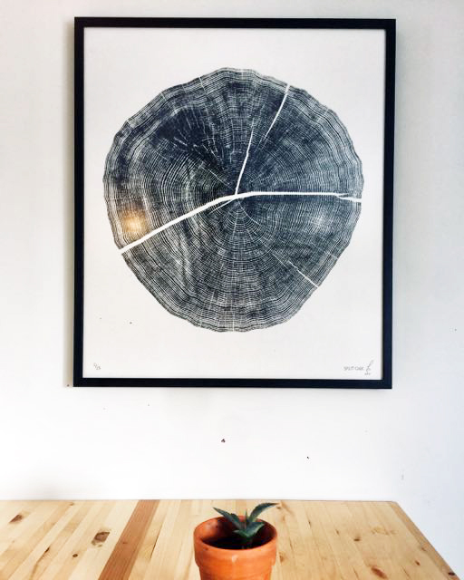 Split Oak 28x32in; Limited Edition /25 White Oak printed Japanese Kozuke Ivory paper in black relief ink.   FEW REMAINING!