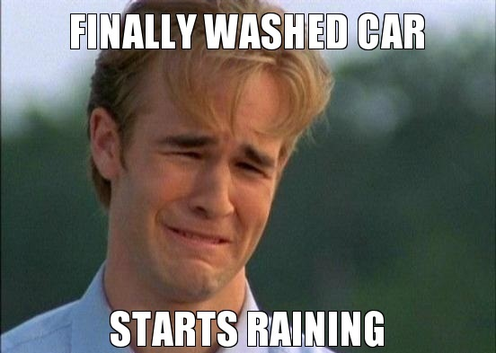 car wash and it rains