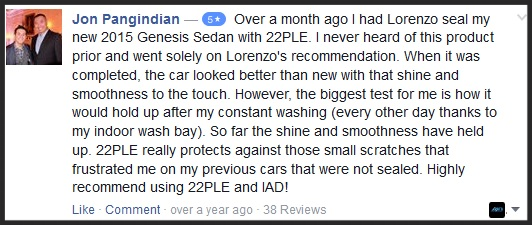 22PLE Glass Coating Testimonial