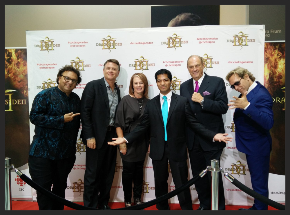 Lorenzo Escobal with members of CBC's Dragon's Den: Vikram Vij, David Chilton, Arlene Dickinson, Jim Treliving and Michael Wekerle