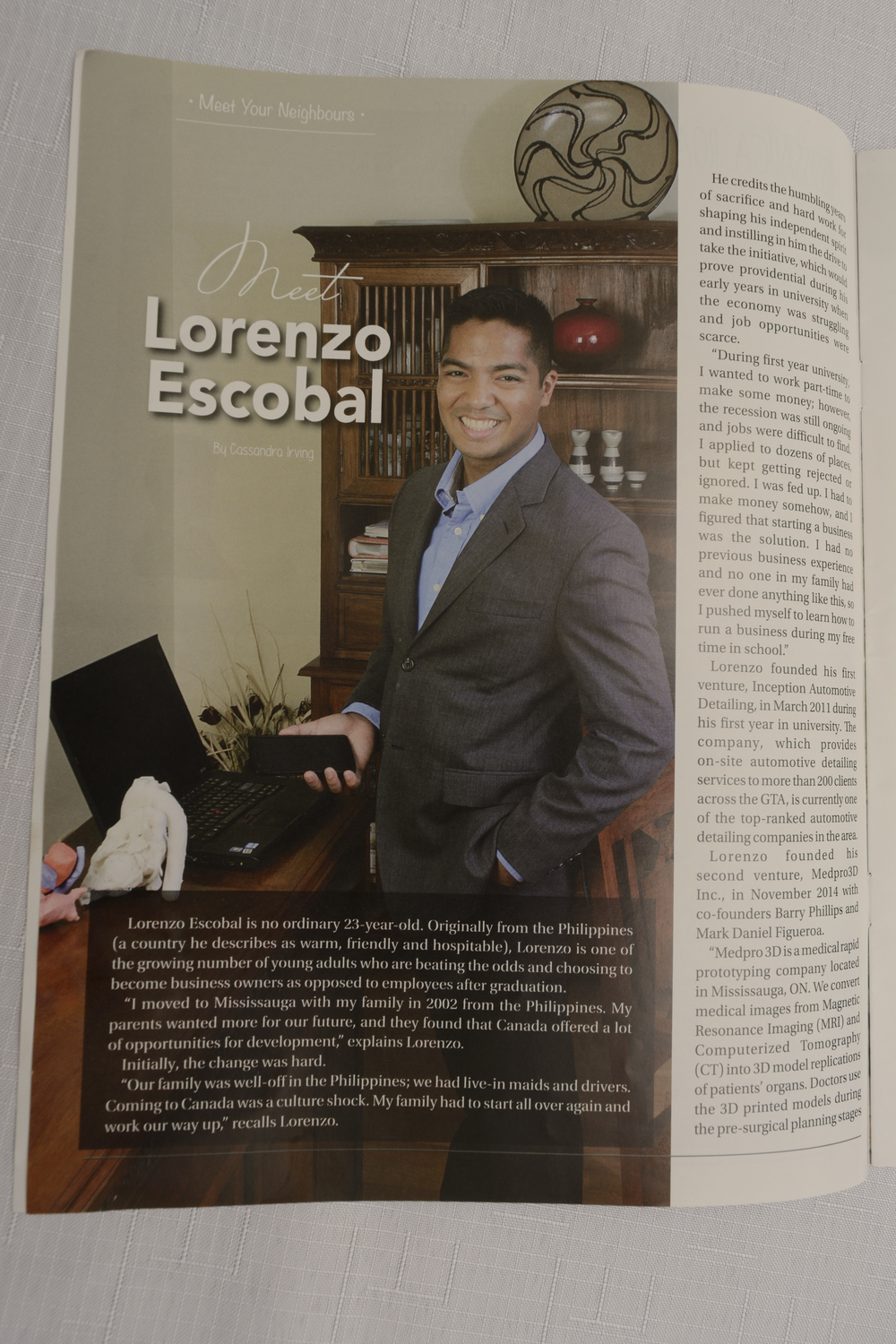 Lorenzo Escobal Magazine Feature Inception Automotive Detailing Neighbors of Mississauga Road