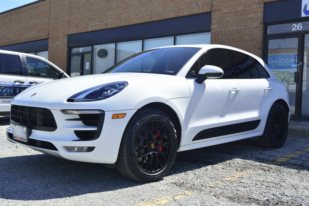 Porsche Macan GTS New Vehicle Prep with 22PLE Glass Coating Paint Protection + XPEL Ultimate PPF Film Installation on the whole front end of the vehicle