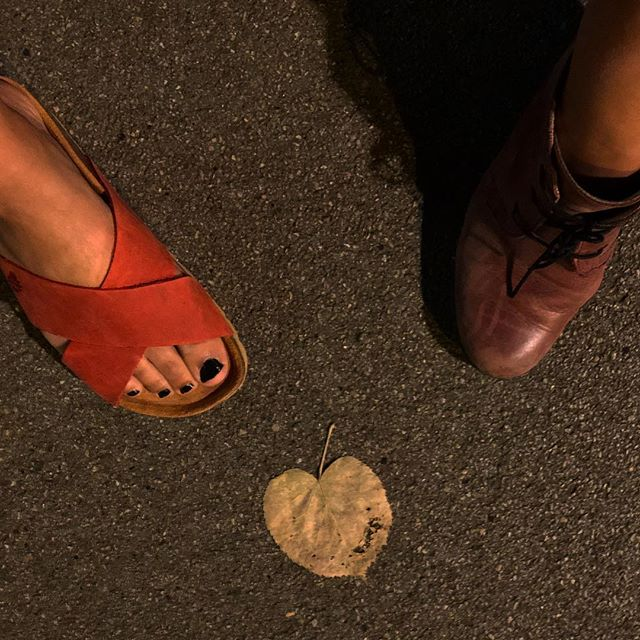 stumbling upon a #heart shaped leaf in our path on a #summer night in #barcelona. ❤️🌈🤗. #zapatos #shoes