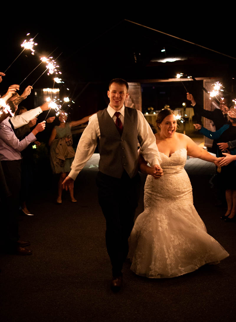 old lantern barn wedding sparkler sendoff