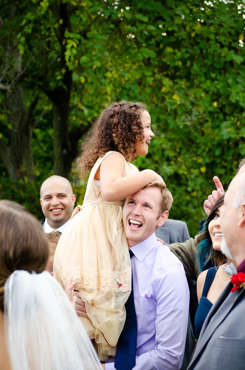 vermont backyard wedding group portrait