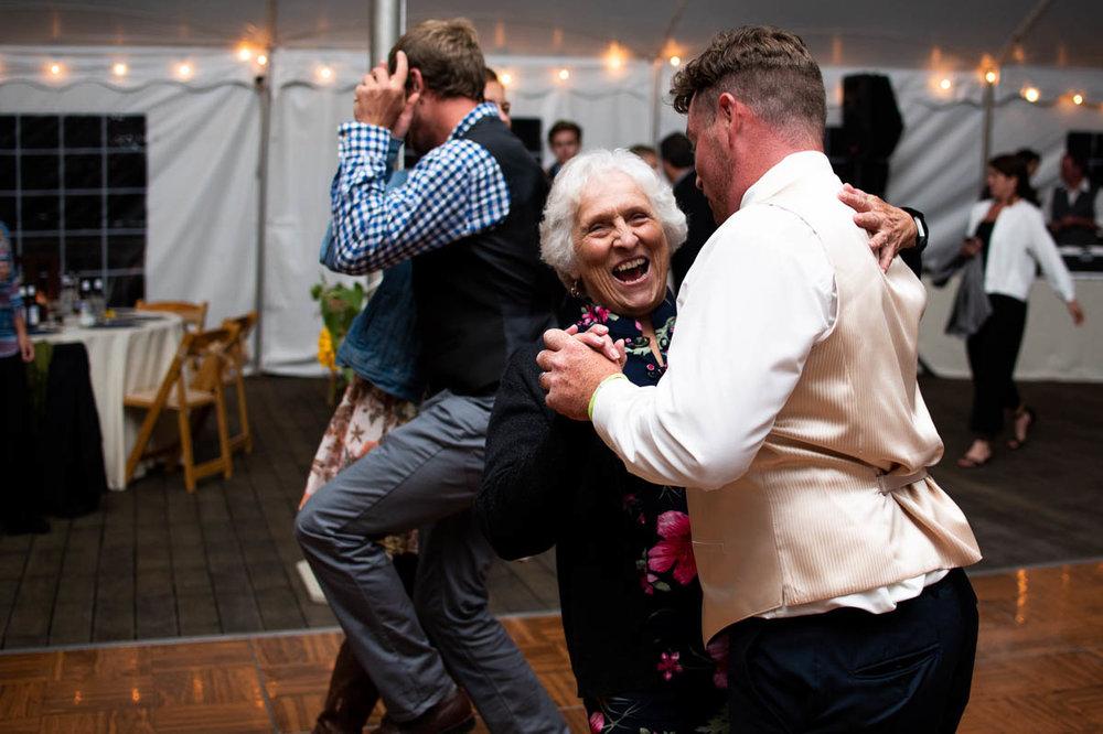 vermont backyard wedding reception grandma dancing