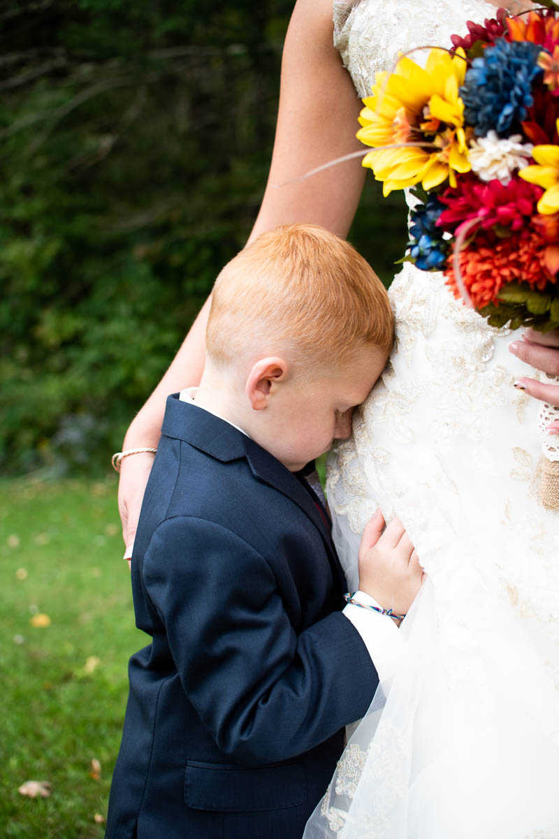 vermont backyard mother and son wedding portrait