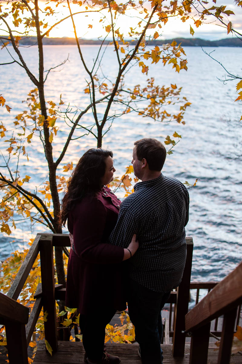 lake champlain backyard sunset engagement photos