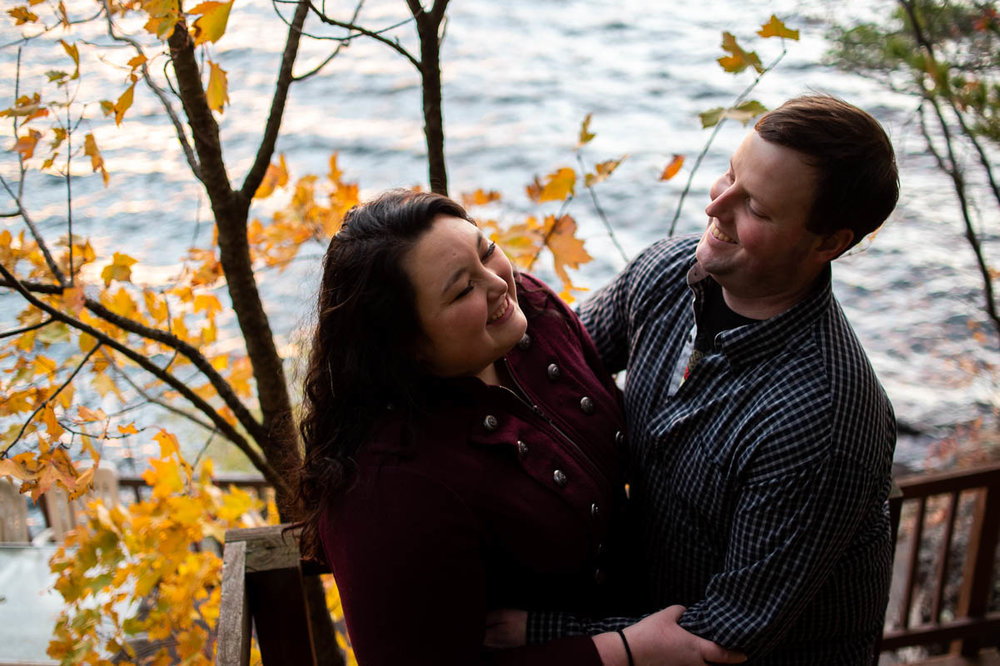 lake champlain backyard foliage engagement portraits
