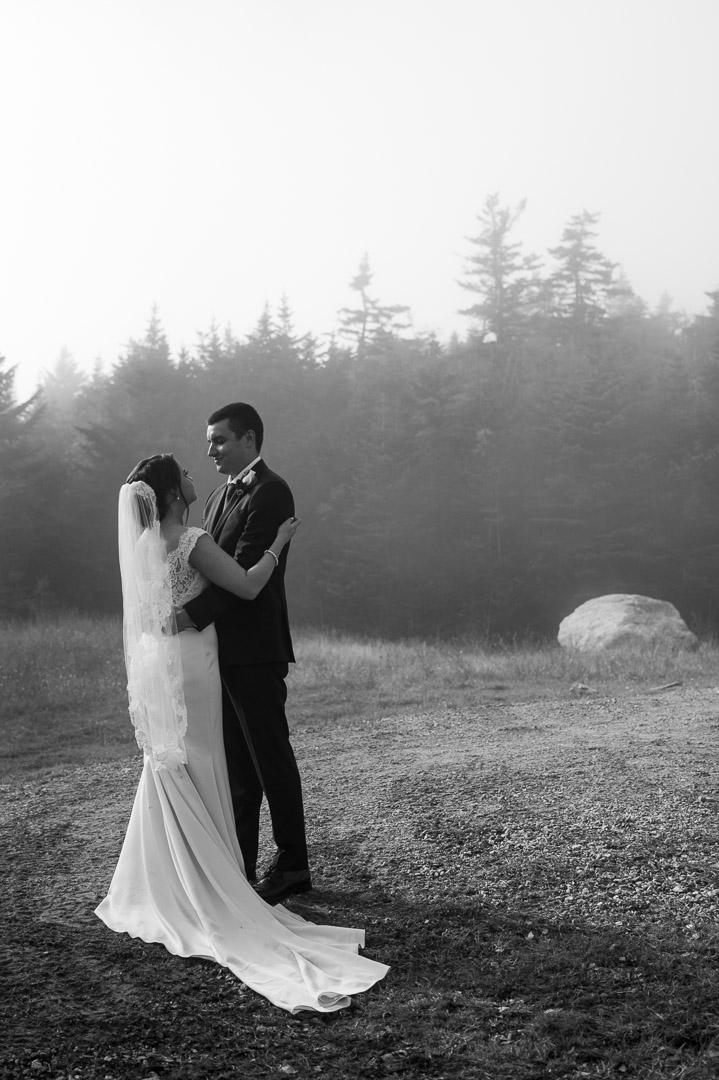 wedding couples portrait fog stratton mountain