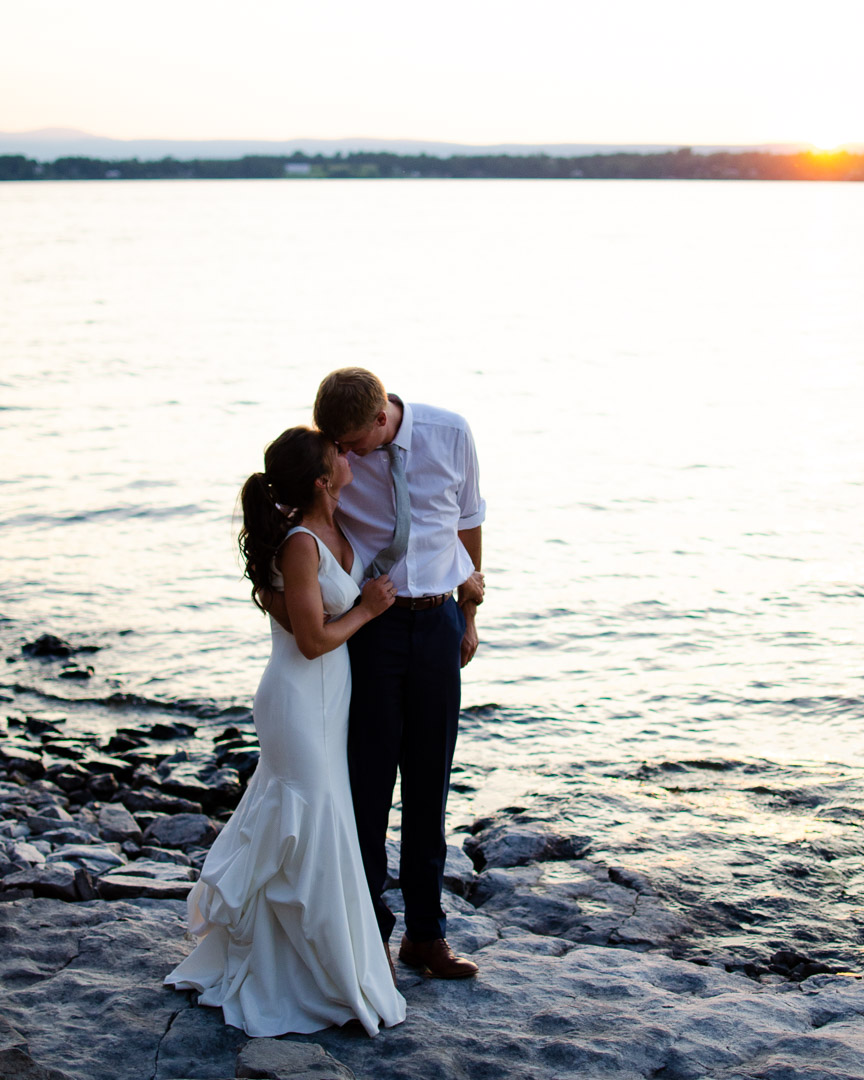sunset wedding portrait during golden hour