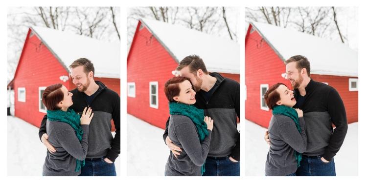 vermont snowy cabin engagement photos
