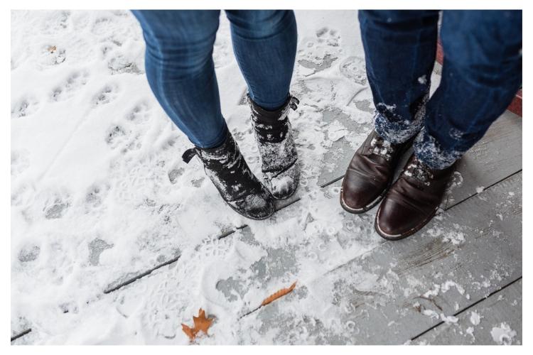 vermont winter snowy boots engagement portraits