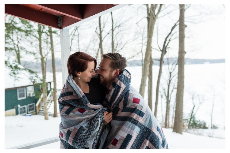 vermont outdoor winter engagement portrait