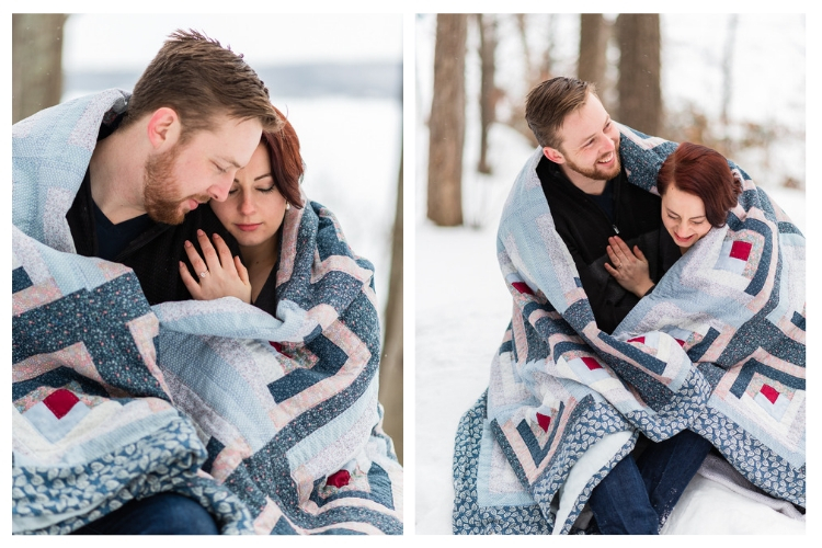vermont winter engagement session wrapped in a quilt