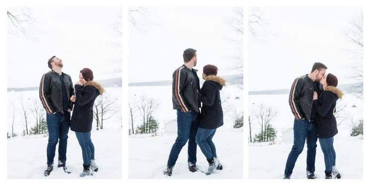 outdoor winter engagement couples portrait session