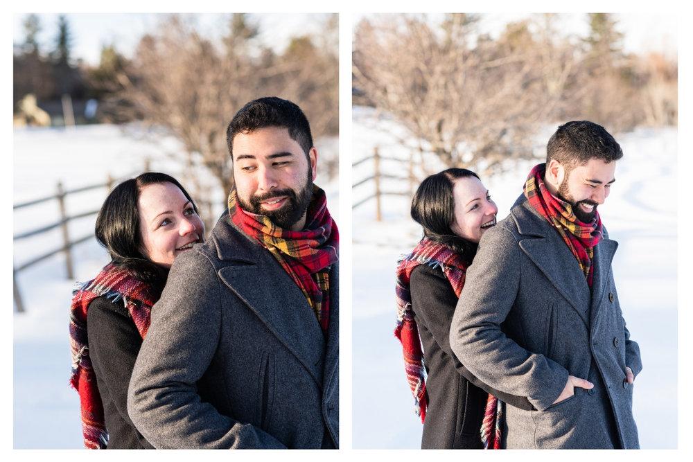 vermont snowy winter engagement