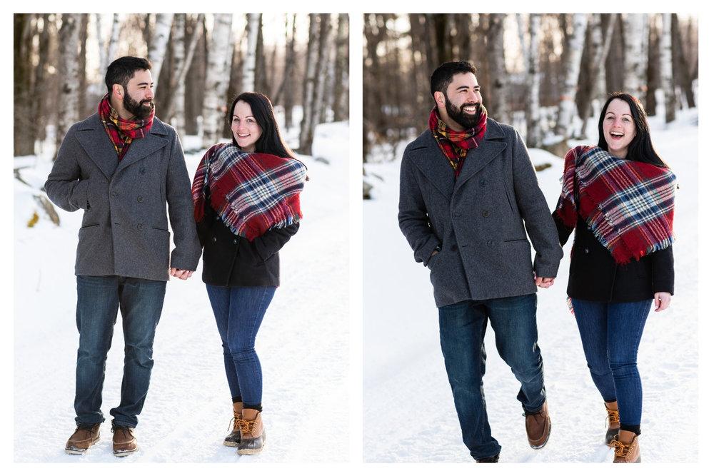 vermont winter engagement session