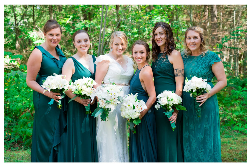 bride with her bridesmaids group photo
