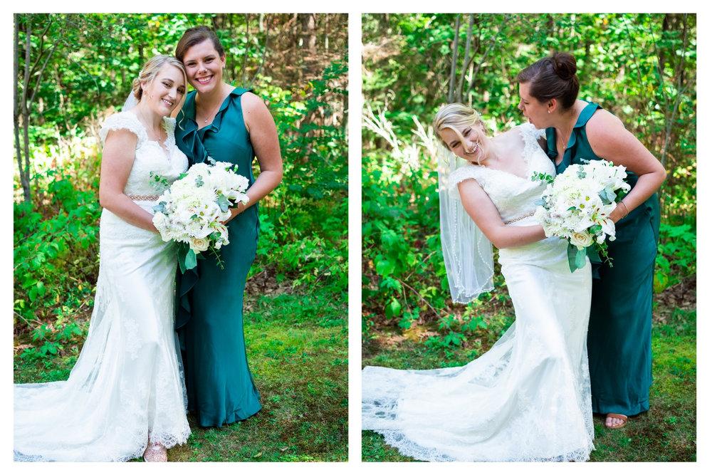 bride goofing off with bridesmaid