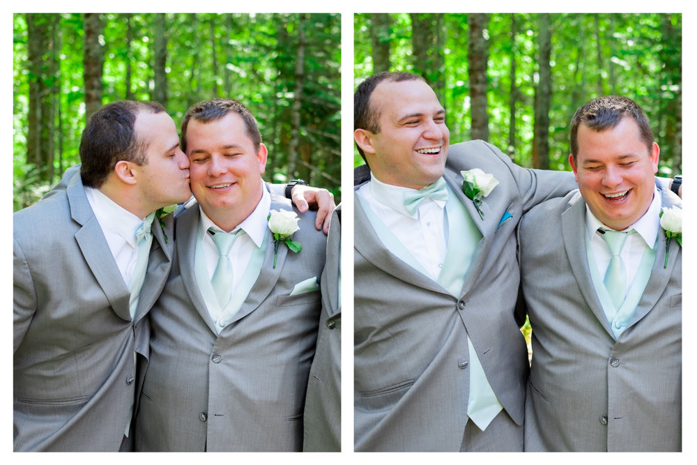 groom and best man goofing off