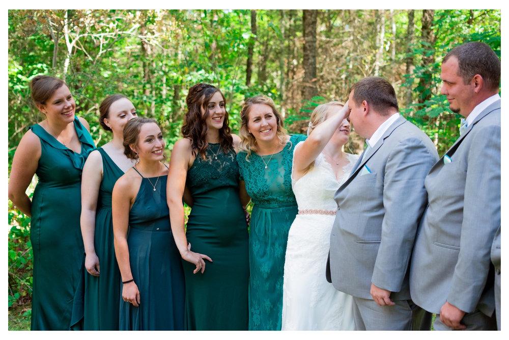 group photo bridesmaids laughing