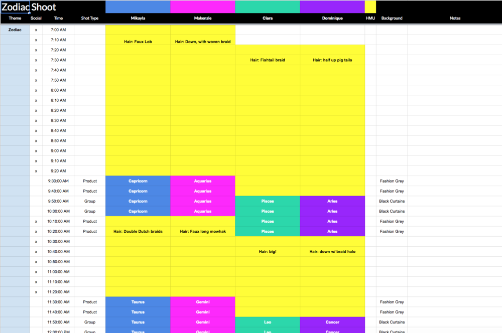 Google sheets is really helpful for scheduling out a photoshoot. The day went from 7a–5p... all the yellow is hair and makeup time!