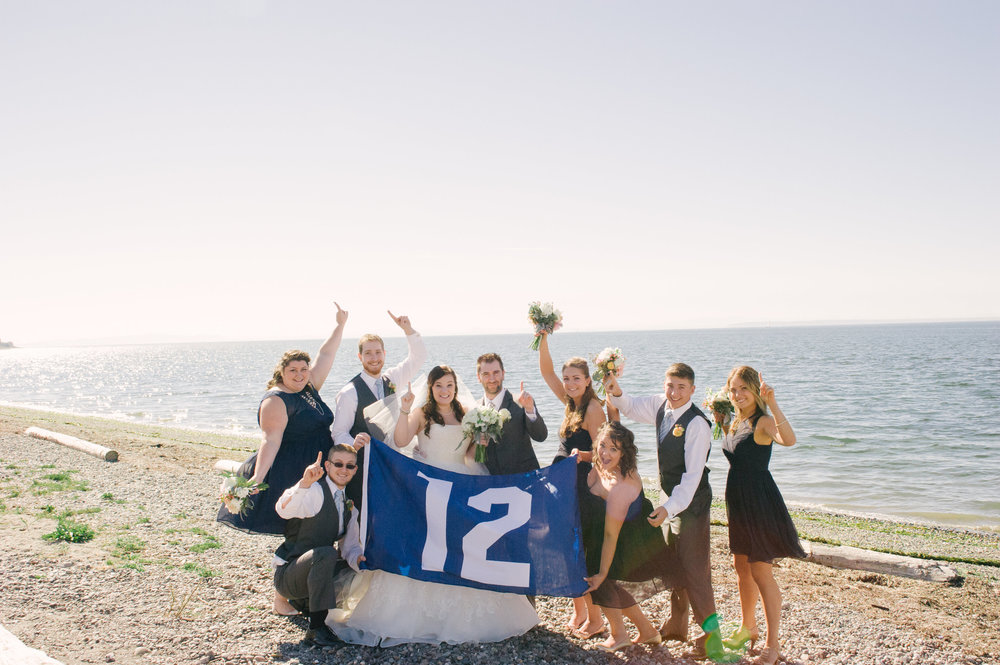 12th Man Bridal Party showing their Seahawk pride before the wedding ceremony at Semiahmoo Resort.