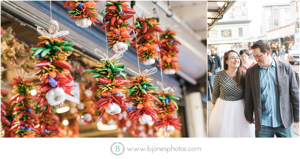 Pike Place Engagement. B. Jones Photography. Seattle Wedding Photographer