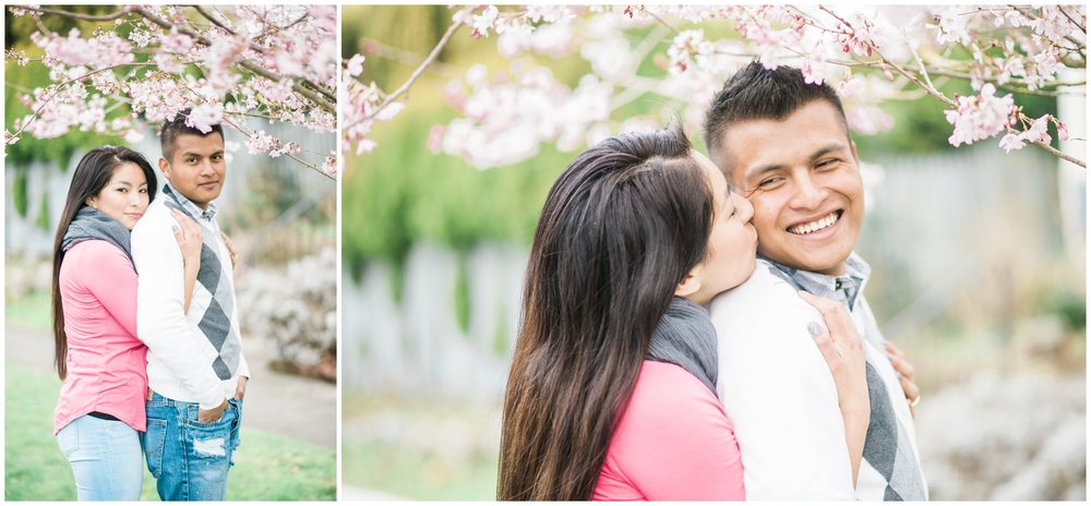 Christian & Vanessa's Bellingham Cherry Blossom engagement