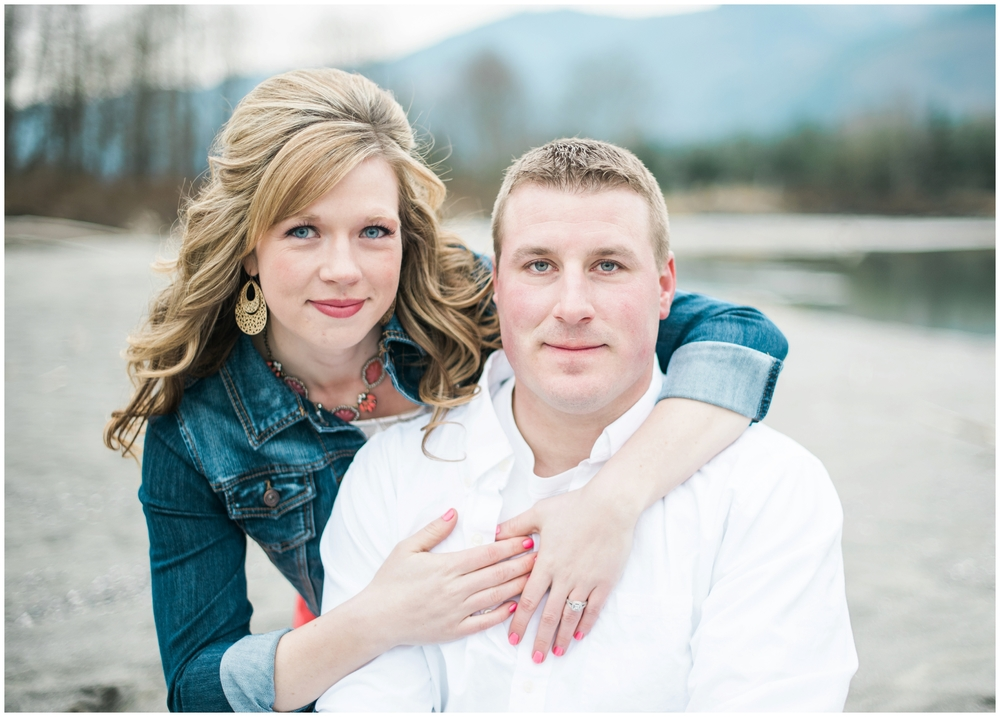 Bellingham river mountain Engagement, B. Jones Photography. Bellingham Wedding Photographer