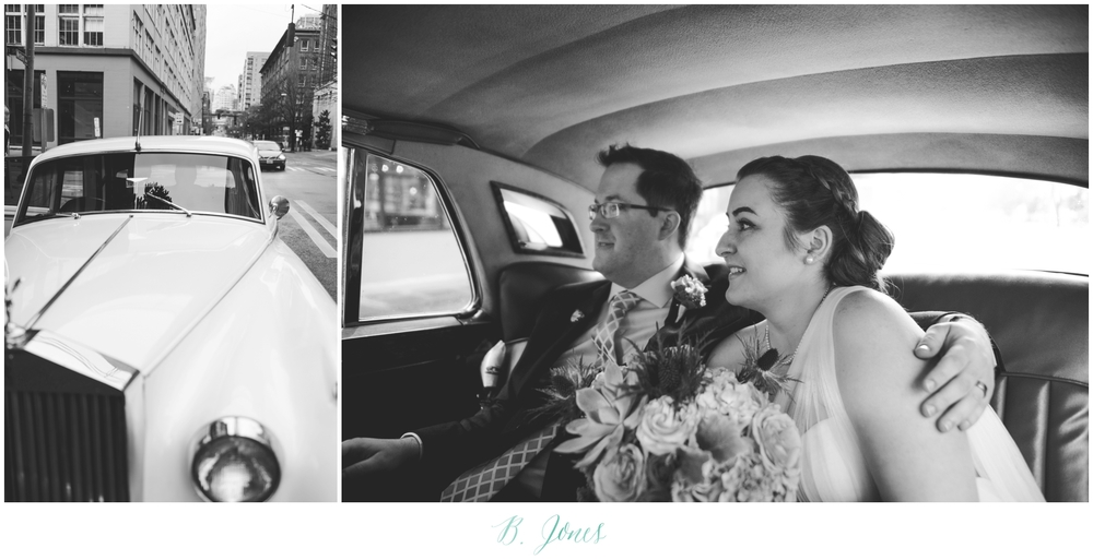 Seattle Ferry Wedding. Piccolino Reception. Seattle Wedding Photographer B. Jones Photography. World Spice Market. Pikes Place Market. Vintage Rolls Royce
