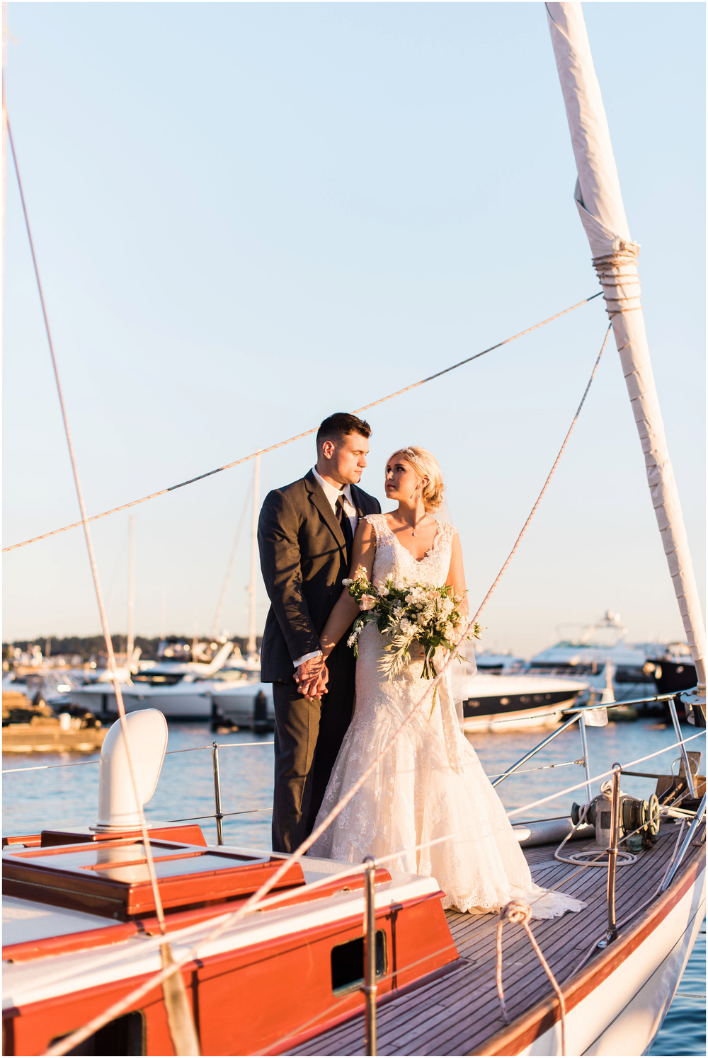 Sail Boat nautical wedding in Seattle Washington in Kirland Mari