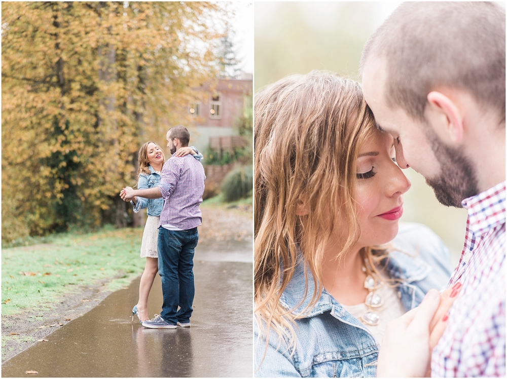 Downtown Historic Snohomish Rainy Fall Winter Christmas Light Engagement. Fall Foliage. Bride and Groom.