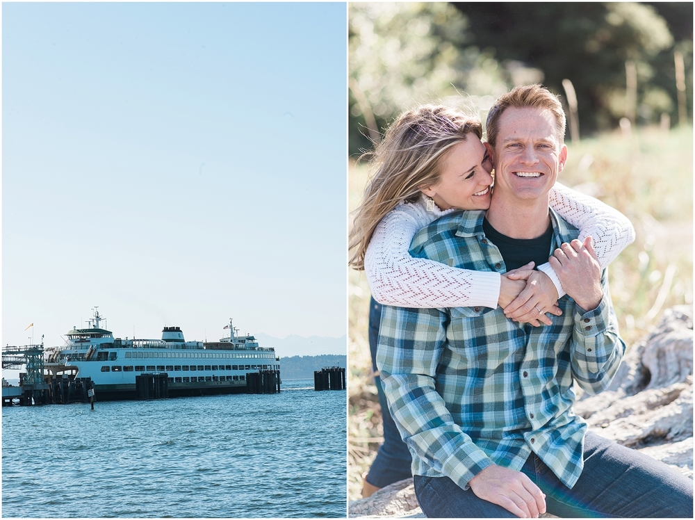 Edmonds Beach Ferry Engagement. Sunny. Fuij400.