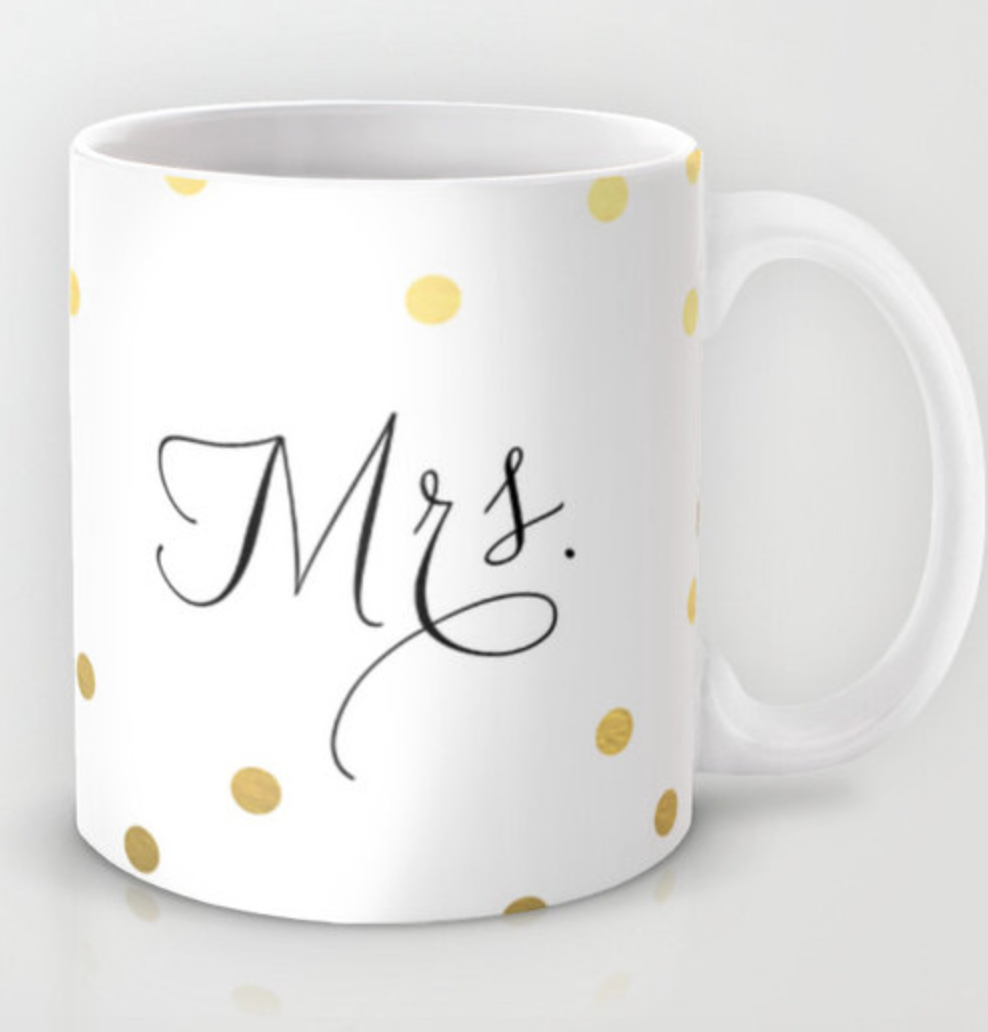Calligraphy Polka Dot Mrs. Mug