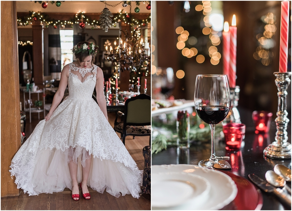 Intimate Christmas Wedding at home. Christmas cookies from Ciao Thyme. Alicia's bridal high lo gown. Black Chandelier. Flower Crown by Bella Fiori. Vintage Ecletic Decor.