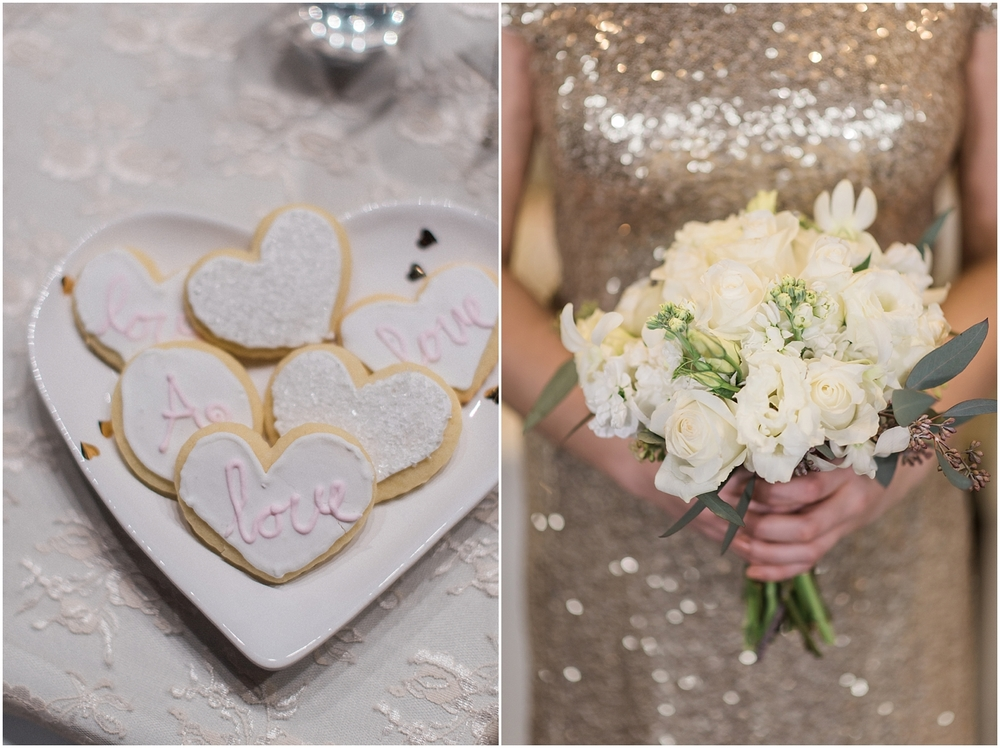 Mukilteo Rosehill Community Center Wedding. Winter Glitter Wedding. Blush, Champagne, Gold
