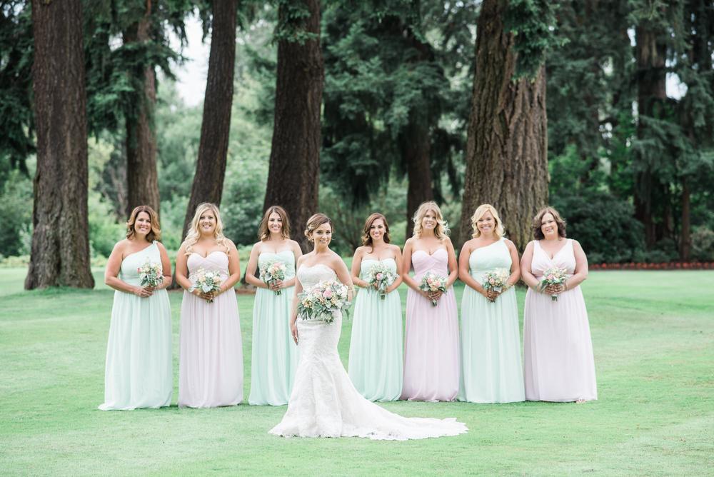 Inglewood Golf Club Wedding. Blush & Mint Mismatched bridesmaid