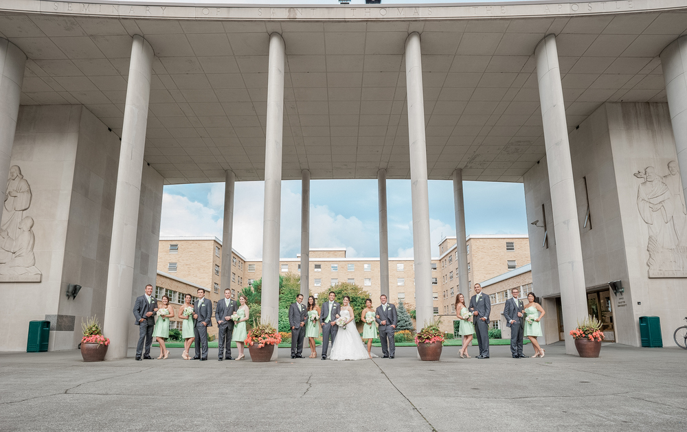 Bastyr Chapel Wedding Bridal Party. Mint Dresses.